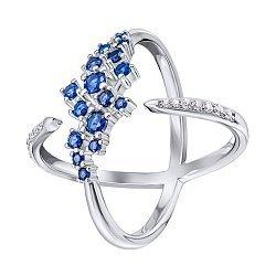 Серебряное кольцо с синими фианитами 000133959