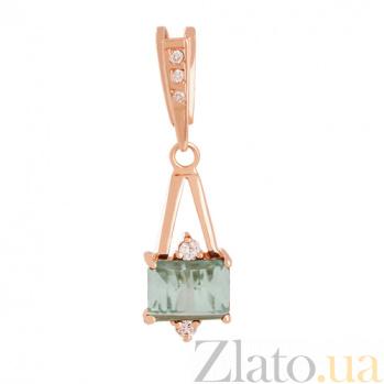 Золотой подвес с зеленым аметистом и фианитами Мадлен VLN--114-993-5