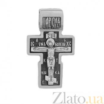 Крест из белого золота Иисус и Богоматерь HUF--11490-Ч бел