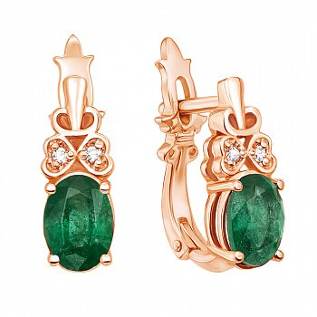 Сережки з червоного золота зі смарагдами та діамантами 000127131