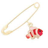 Золотая булавка Рыбка Немо с эмалью