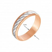 Золотое обручальное кольцо Страна любви в комбинированном цвете с алмазной гранью