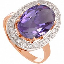 Золотое кольцо Корделия с александритом и фианитами