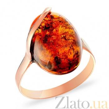 Кольцо из красного золота с янтарем Везувий SUF--153297