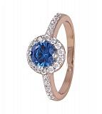 Серебряное кольцо с голубым фианитом Лорелей