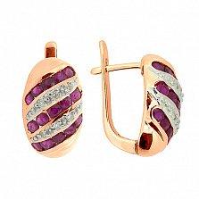 Золотые серьги с бриллиантами и рубинами Беатрис