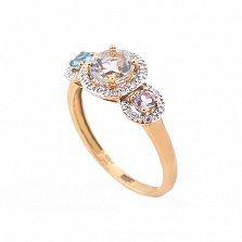 Золотое кольцо Эванжелина с бриллиантами, топазом и аметистом