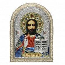 Икона на деревянной основе Спаситель мира с позолотой и эмалью микс, 15х21
