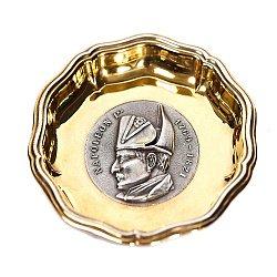 Серебряная пепельница с позолотой 000004341