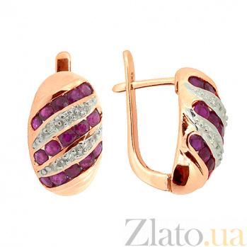 Золотые серьги с бриллиантами и рубинами Беатрис ZMX--ER-16530_K