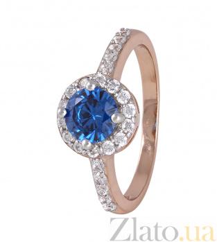 Серебряное кольцо Ривьера с позолотой, синим и белым цирконием 000025430