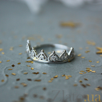 Серебряное кольцо Диадема из сердец с кристаллами циркония 000064050