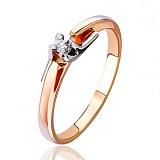 Золотое кольцо  с бриллиантом Антония