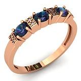 Золотое кольцо с синим кварцем Парижанка