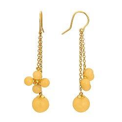 Серебряные серьги-подвески Керулен с позолотой, цветочками и лимонным янтарем