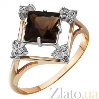 Золотое кольцо с раухтопазом и фианитами Сильвия AUR--3171404