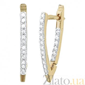 Позолоченные серебряные серьги с цирконием Ланита SLX--С3Ф/043