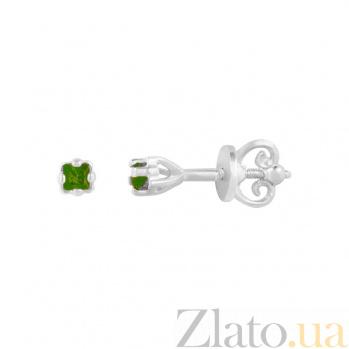 Серебряные серьги-пуссеты Мэг с оливковым цирконием 000081823