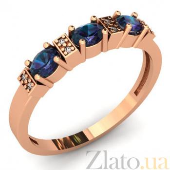 Золотое кольцо с синим кварцем Парижанка SUF--141500ПСс