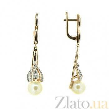 Золотые серьги с бриллиантами и жемчугом Голуба ZMX--EDP-6781_K