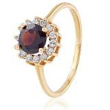 Золотое кольцо с гранатом и фианитами Вишневый сад