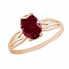 Кольцо в красном золоте Альбина с гранатом