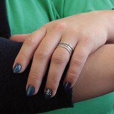 Серебряное кольцо Гелиона с тройной шинкой и белым цирконием