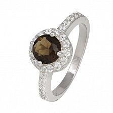 Кольцо из серебра Ривьера с коньячным и белым цирконием