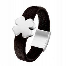 Кожаное кольцо Клевер в белом золоте