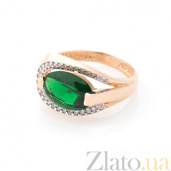 Золотое кольцо Мариам в красном цвете с изумрудным кварцем и белыми фианитами 000082377