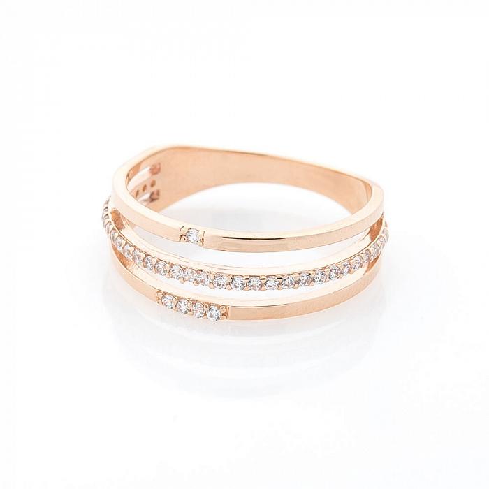 Золотое кольцо Сага с тройной шинкой и дорожками фианитов 000082385