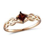 Золотое кольцо с гранатом и бриллиантами Гренадин