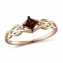 Золотое кольцо с гранатом и бриллиантами Элеонора