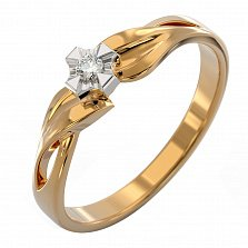 Золотое кольцо с бриллиантом Жасмин