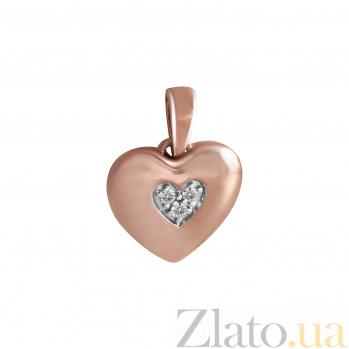 Кулон из красного золота Сердце к сердцу с бриллиантами 000045944