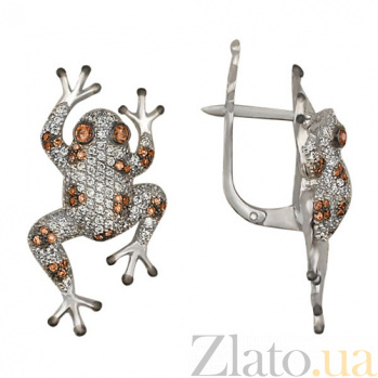 Серьги с белым и оранжевым цирконием Царевна VLT--ТТ2208