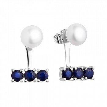 Серебряные серьги-джекекты с жемчугом и сапфирами 000117827
