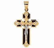 Золотой крест с ониксом и цирконием Благодатное небо