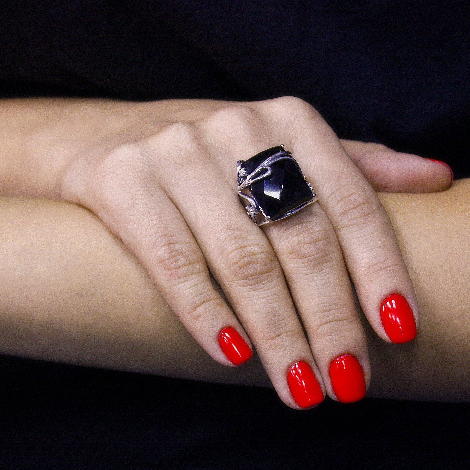 Серебряное кольцо Полуночный свет с фианитами