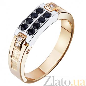 Золотая печатка с сапфирами и бриллиантами Стиль AUR--31406 45