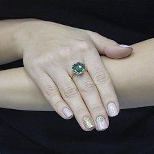 Золотое кольцо Лара с зеленым кварцем