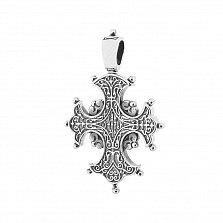 Серебряный крест с чернением Святость