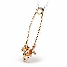 Серебряная булавка позолоченная Роза