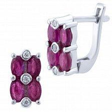 Серебряные серьги Рафаэла с рубинами и фианитами
