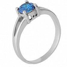 Серебряное кольцо Мелита с фианитом цвета лондон топаза