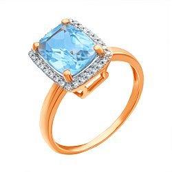 Золотое кольцо в комбинированном цвете с голубым топазом и бриллиантами 000139415