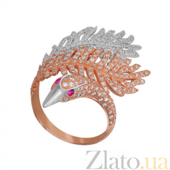 Золотое кольцо Лебединая нежность с фианитами VLT--ТТТ1270