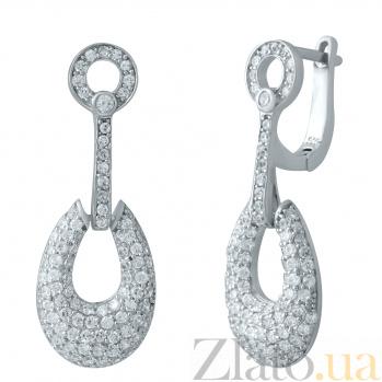 Серебряные серьги-подвески Оделия с фианитами 000078021