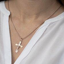 Золотой крестик Божия сила с фианитом