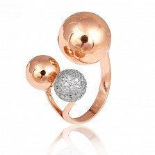 Серебряное кольцо с позолотой и фианитами Триумф стиля